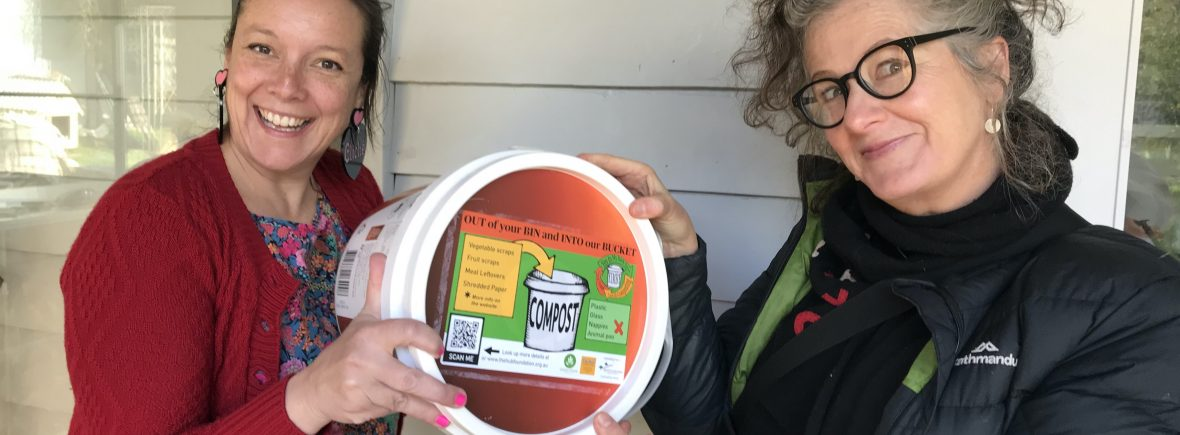 Penny and Melinda introducing the new YIMBY buckets about to roll out at selected sites across the Shire